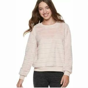 Crave fame pink faux fur long sleeve sweater